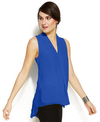 Vince Camuto Sleeveless Inverted-Pleat Blouse - Available in Multiple Colors