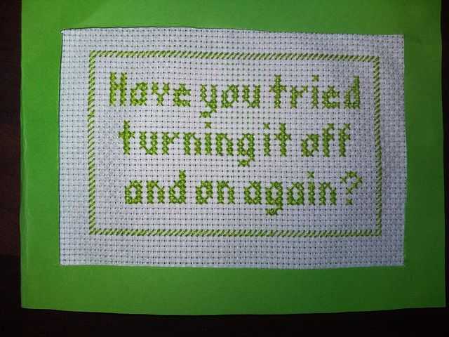 I'm designing a cross stitch for our wireless password, so guests can easily log on.