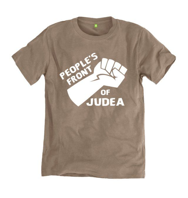People's Front Of Judea T-shirt. Inspired by the British comedy film Monty' Python's Life of Brian. Starring and written by the Graham Chapman, John Cleese, Terry Gilliam, Eric Idle, Terry Jones and Michael Palin.