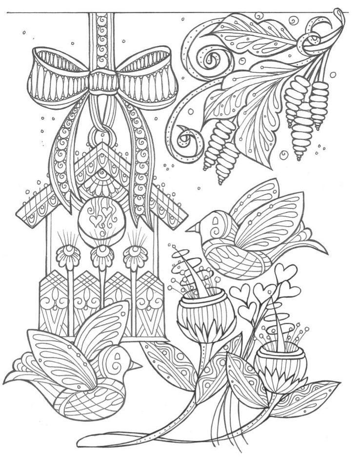 birds and flowers spring coloring page - Watercolor Pages