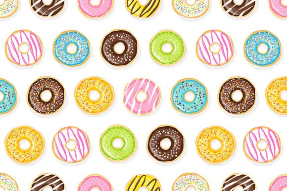 Seamless pattern of tasty donuts. by joulenc on Creative Market