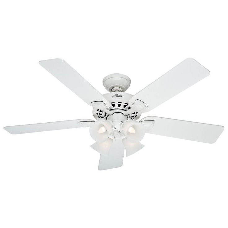 """Hunter 52"""" Bright White Traditional Ceiling Fan - 90% Pre-Assembled, Ships Free #Hunter"""