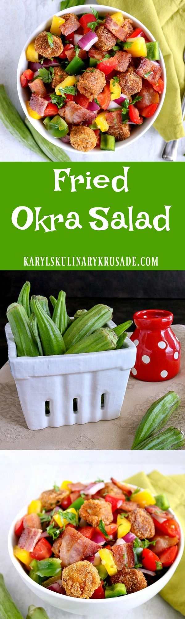 If you think you don't like okra, you haven't tried it fried! My Fried Okra Salad combines crunchy pan-fried okra, peppers, onions, tomatoes & bacon to create a wonderful mix of flavors, textures and colors. Finish with a drizzle of balsamic vinegar for a wonderful dish your family will love