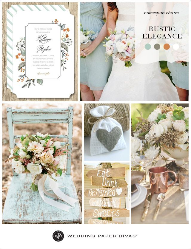 Put a fresh spin on your rustic wedding with a color palette of muted mint, sage, copper, and white. Homespun details and woodsy touches will add to the simple elegance.