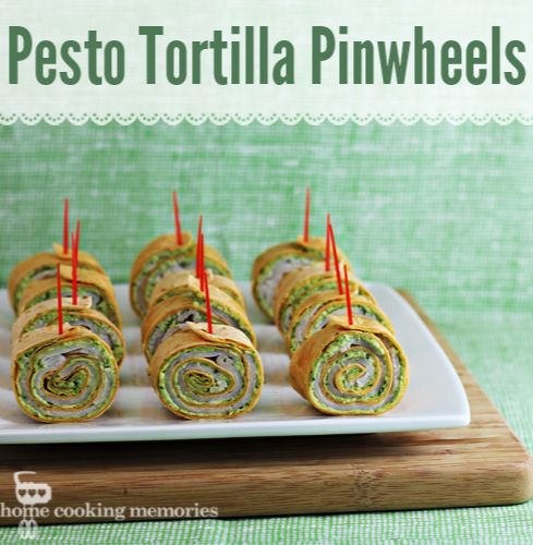 Party Food: Pesto Tortilla Pinwheels #appetizer -- great for Christmas, especially with red toothpicks and tomato flavored tortillas.