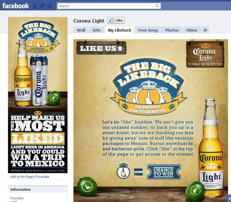 """Corona Light cross-media campaign this past year included a goal to become """"The Most Liked Light Beer In America."""" A most notable part of this was to use Facebook, and by fanning the page you could see your picture up in the bright lights of New York City's Time Square. The campaign was a great social media success in the sense that it had fans interacting on the pages as well as spreading the story of the billboard by word of mouth."""