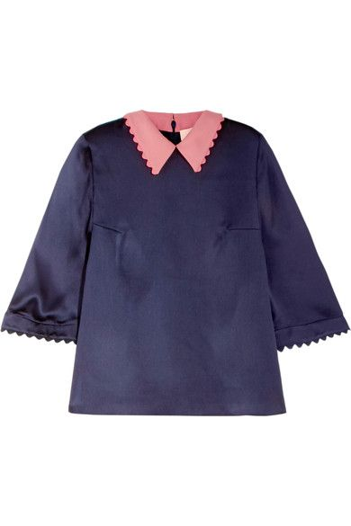 Roksanda - Silk-seersucker Top - Midnight blue - UK