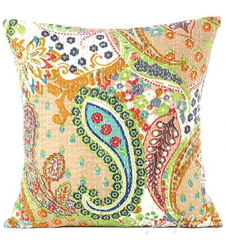 Beige kantha Embroidered Decorative Sofa Bohemian Pillow Cushion Throw Cover  16*