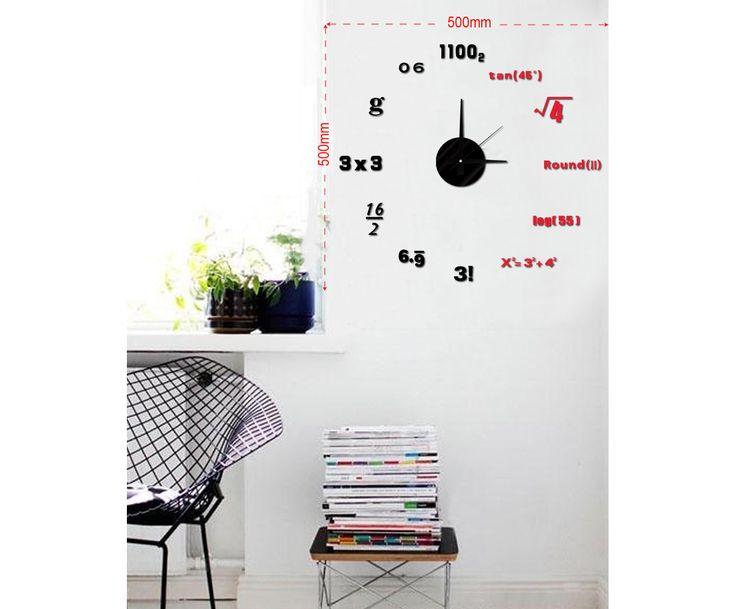 Настенный стикер-часы Math