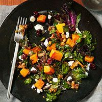 Kale and Butternut Squash Sauté with cranberries, nuts, and goat cheese