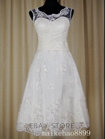 Simple cute short lace wedding dress bridal prom ball gown for Cute dresses for a wedding reception