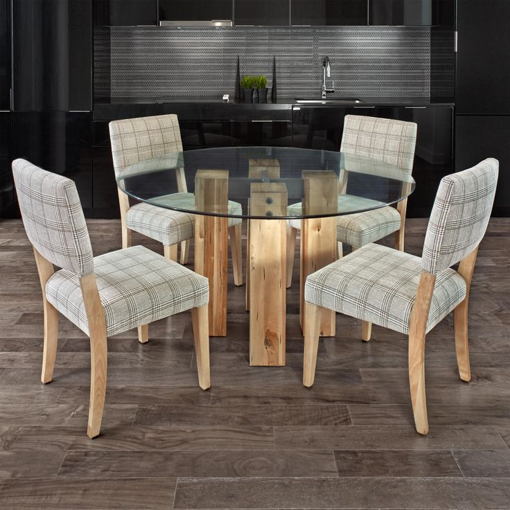 Loft - Custom Dining Customizable Round Glass Top Table Set by Canadel