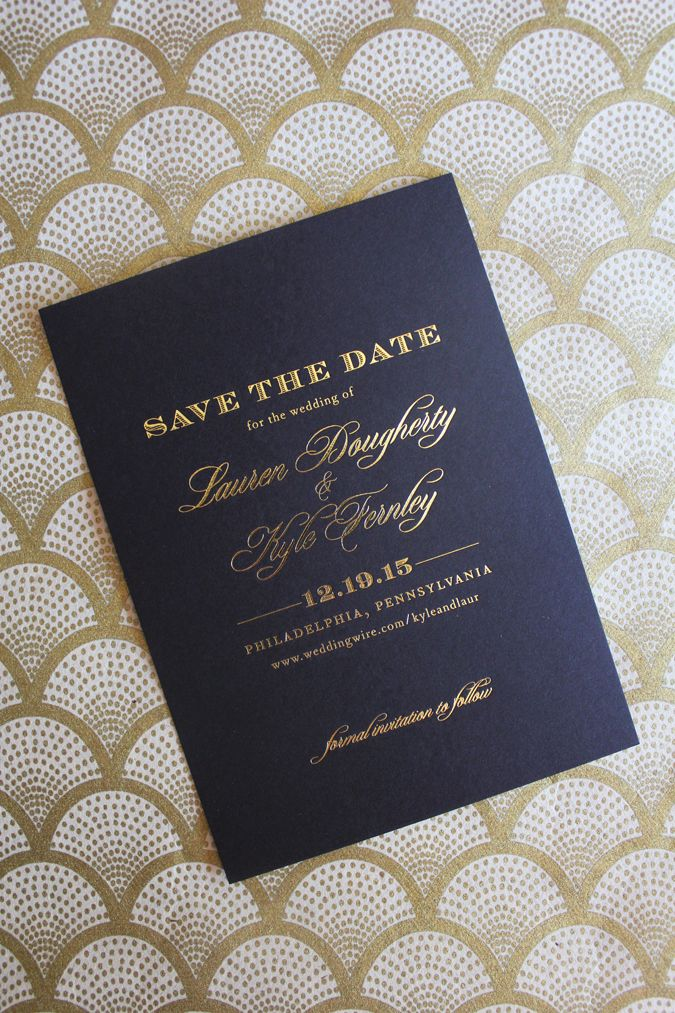 sample wording for save the date wedding cards%0A LoveLeigh Invitations    gold foil save the date on black cover stock with  envelope printing