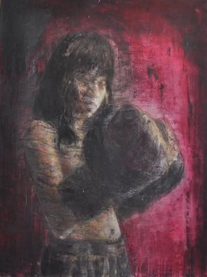 "Orange Art Gallery - Ann-Marie Brown - Arif; Purchase Online; Encaustic & Oil on Canvas, 30"" x 40"". Painting. Art. Boxing Gloves."