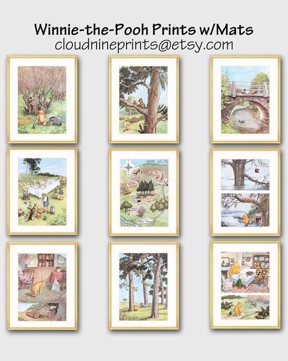 20% OFF Sale - Regular price $12 - $18 each  Winnie the Pooh Art w/Mats (Frame Not Included) Ships in 24 Hours!  From a series of 22 Winnie the Pooh nursery decor prints: http://etsy.me/1ivUHz8  ✔ Set of 2 Winnie to the Rescue classic Winnie the Pooh prints attached to two white 8x10 or 11x14 inch archival-quality mats. Gorgeous storybook wall art for babys room. Every picture tells a story with E. H. Shepards delightful childrens book illustrations. 1. Eeyore Floats: Eeyore! cried…
