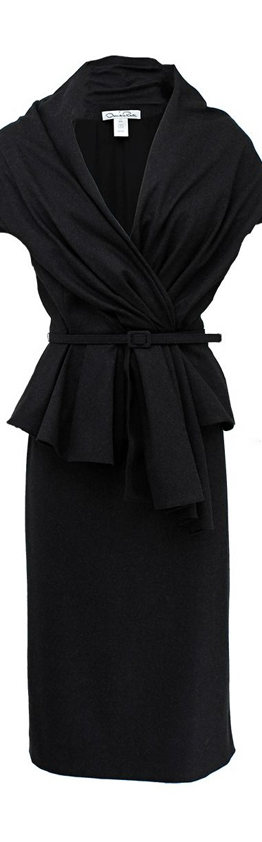 Oscar de la Renta ● Black Belted Jacket and High Waist Skirt