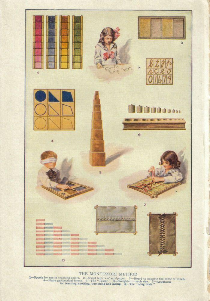 Klassiek Montessorimateriaal. Wordt ook nu nog dagelijks gebruikt in Montessorischolen. 1. Kleurspoelen 2. Letterdoos 3. Ruw en glad 4. Geometrisch kastje 5. Roze toren 6. Cilinderblok 7. Aankleedrekken 8. Rekenstokken