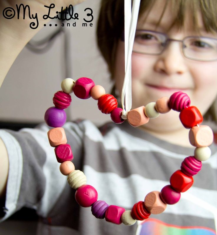 """Homemade """"I Love You"""" Hearts made with children's beads and wire from My Little 3 and Me."""
