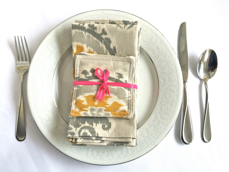 Hostess Gift Modern Dinner Napkins & Coasters Set of 4, Fabric Napkins Handmade Christmas Gift for Chef Cook by IndustrialWhimsy on Etsy https://www.etsy.com/listing/184304277/hostess-gift-modern-dinner-napkins