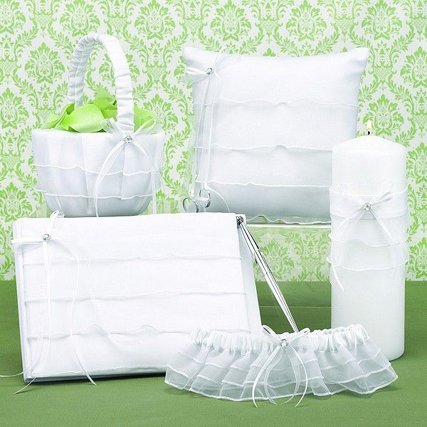 Sweet Tiers White Chiffon Wedding Accessories Set Weddingceremony Weddingreception Weddingcollection