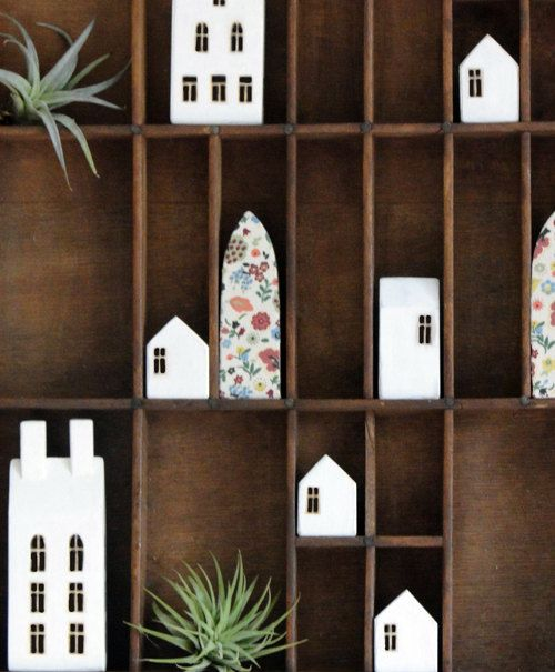 cute little houses in a curio box - need one of those