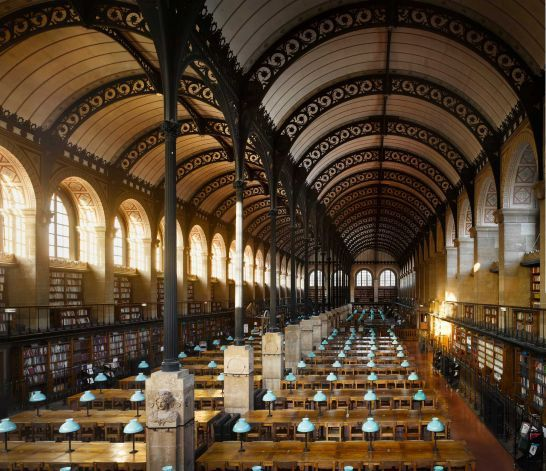 Bibliothèque Sainte-Geneviève, 1850. Paris, France. The library is 83.5m (274ft) long and 21m (69ft) wide and its famous iron roof is suppor...