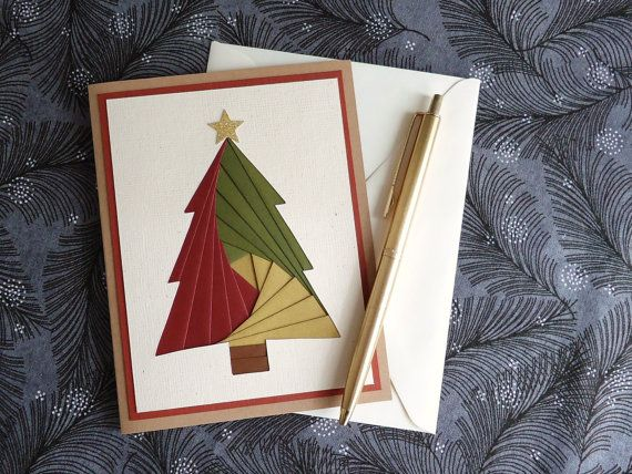 Iris Folding Christmas Tree Card, Unique Holiday Card