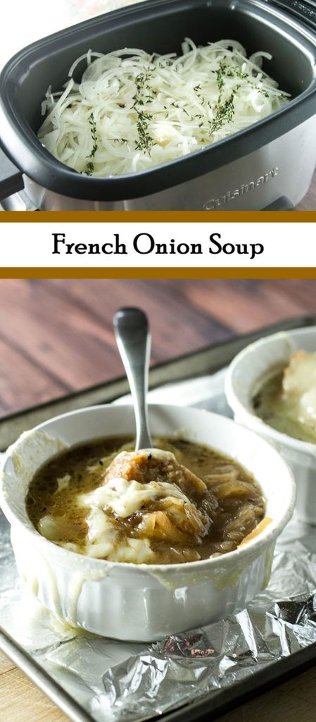 Warm and cozy French Onion Soup - Use a slow cooker to caramelize the onions overnight to save time! | girlgonegourmet.com