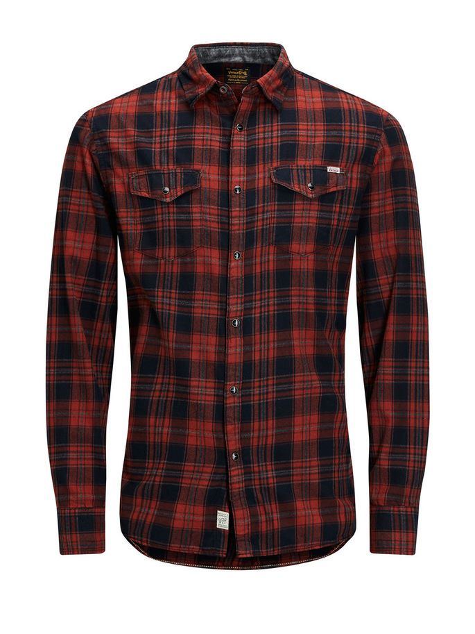 The cool Valentine's day gift: a warm red and black checkered flannel shirt. It is a must-have item, easy to style and to combine | JACK & JONES