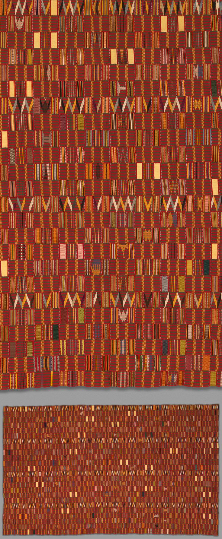 Africa | Detail from a man's prestige wrapper from the Ewe people of Ghana | Cotton and silk | 1930 - 50