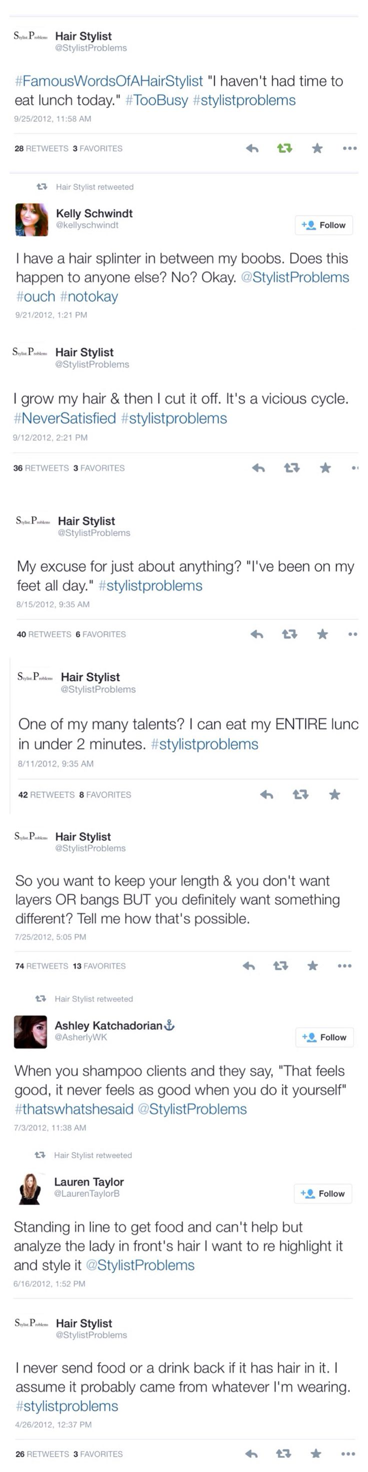 Hairstylist Problems: from @StylistProblems on Twitter.... These are all so freaking true