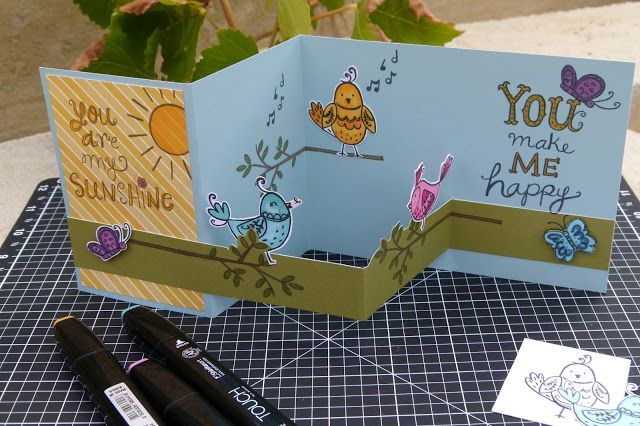 CTMH Australasian 'Sunshine Birdies' March Stamp of the Month Blog Hop floating strip Z fold card