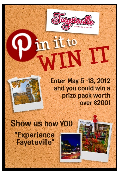 Create a 'Pin It to Win It Experience Fayetteville' board and repin this pin! One pinner will win a prize  pack worth over $200!! Click the pin to enter