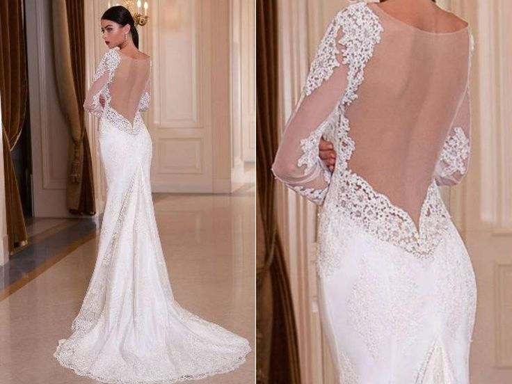 Beautiful Sheath Stretch Satin Wedding Gown Open Back Long Train by Poshfair on Etsy