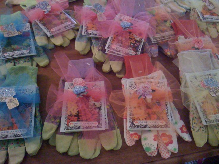 Gardening gloves and flower seeds for Garden Luncheon