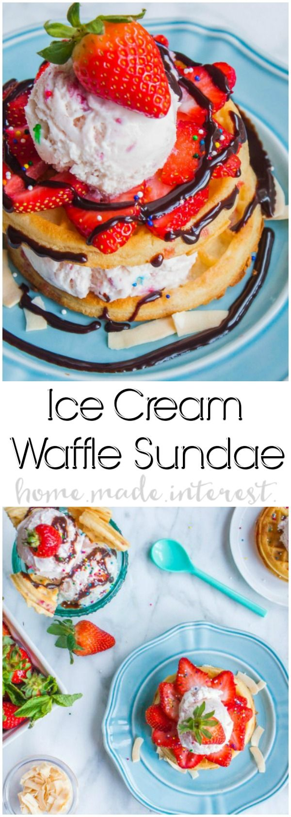 Waffle Sundae | Make this easy Waffle Sundae recipe for a fun family night or just because you want the best sundae ever! Tasty waffles piled high with ice cream and topped with another waffle before covering it with your favorite ice cream toppings. Kids and adults will love this easy dessert recipe! Who wouldn't want ice cream and waffles?! #EggoMyWay | AD