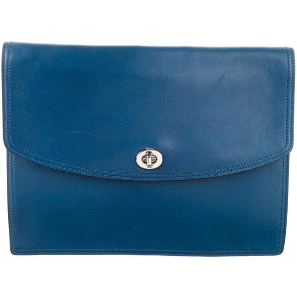 Pre-owned Coach Leather Flap Clutch (€68) ❤ liked on Polyvore featuring bags, handbags, clutches, blue, blue leather handbags, coach clutches, leather handbags, man bag and leather man bags