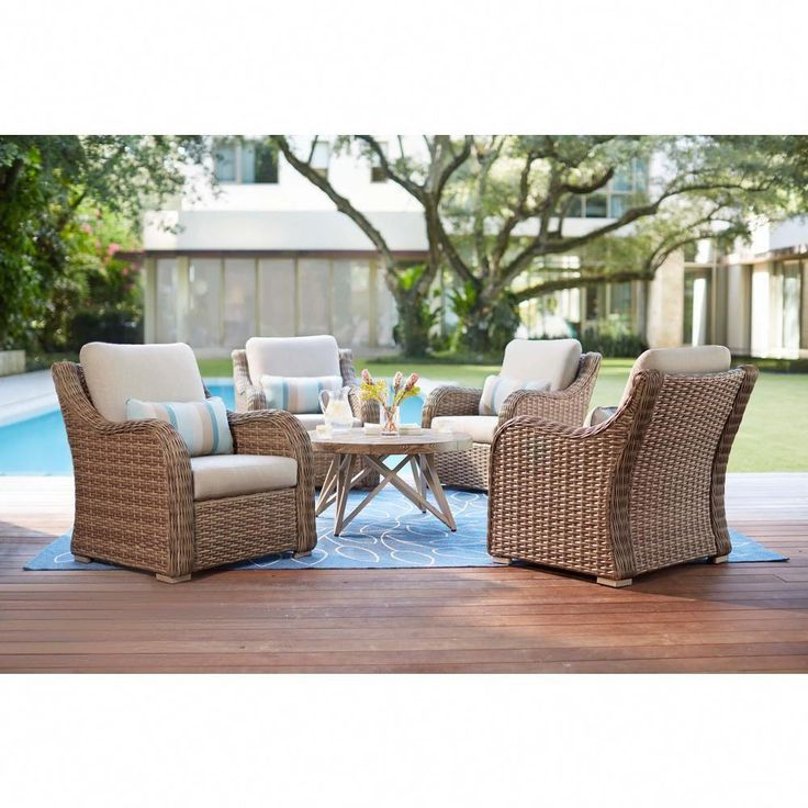 Home Decorators Collection Gwendolyn 5 Piece Wicker Patio Deep Seating Set With Sunbrella Cast Ash Cushions Fg Abv5pcds The Home Depot Teak Patio Furniture Best Outdoor Furniture Outdoor Furniture