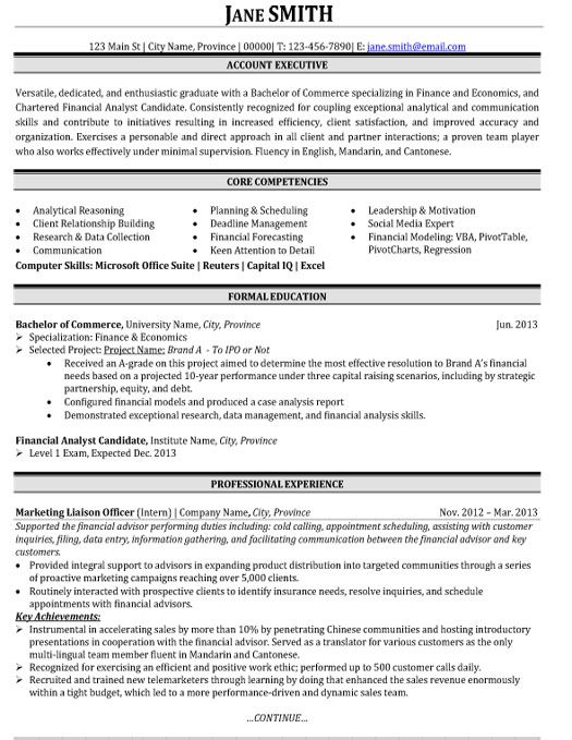36 best Best Finance Resume Templates \ Samples images on - collections representative sample resume