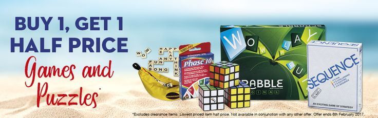 Buy 1 Get 1 Half Price on Games and Puzzles!...