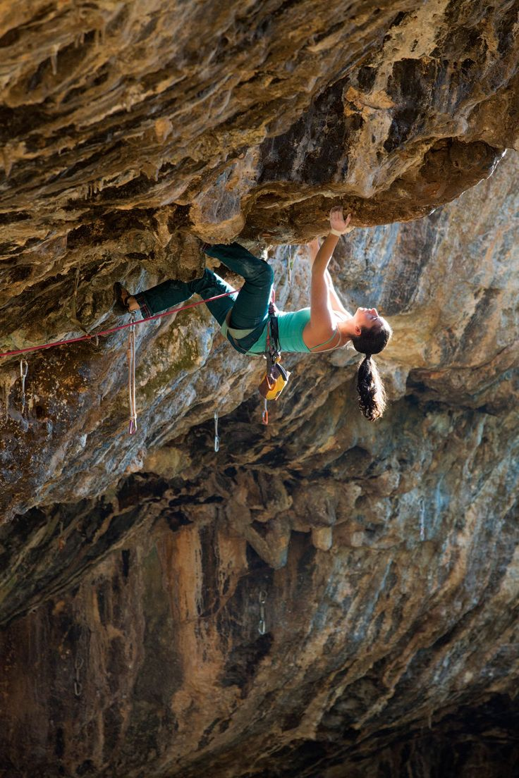 nbal Katznelson enjoys the steep Madness (8b/5.13d) in the Nezer Cave. Photo: Andrew Burr