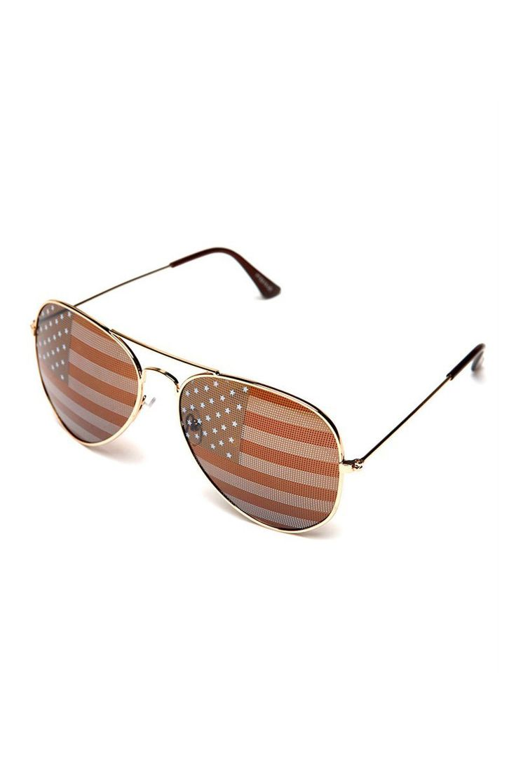 A pair of sunglasses with a high-polish metal frame and a subtle American flag…