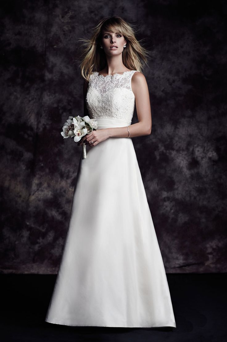 View our Silk Skirt Wedding Dress - Style #4617 from Paloma Blanca. Beaded lace bodice with bateau neckline. A-line Silk Dupioni skirt. Chapel Train.