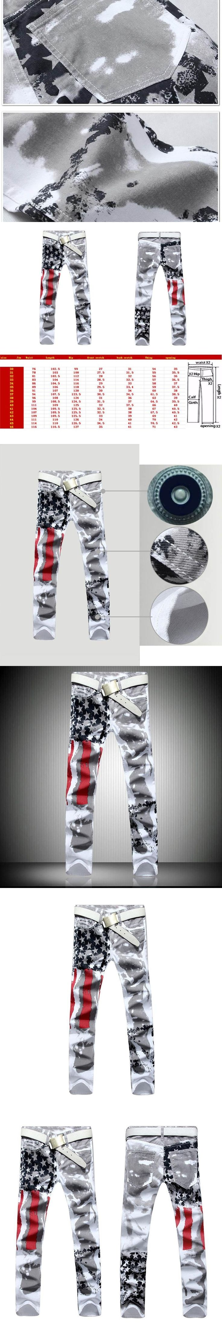 New Arrivals Men American Flag Printing Jeans Casual Slim Fit Stretchy Fashionable Style Washed Male Straight Pants Trousers