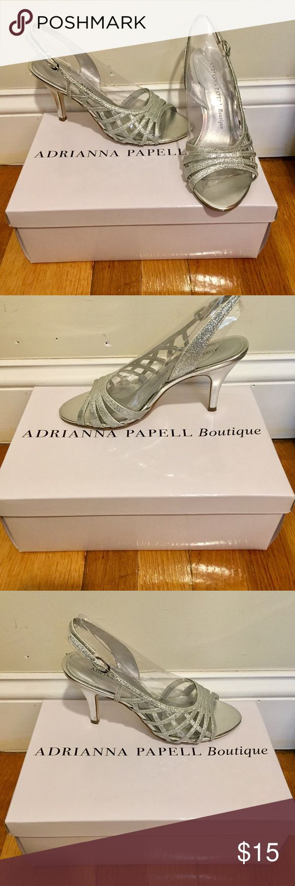 Sparkly silver heels 👠💎 Adrianna Papell Boutique silver heels! Worn for about 1 hour total to prom! Would work for prom or for a wedding or any other fancy gathering! 💎😍🎀👠🖤 Adrianna Papell Shoes Heels