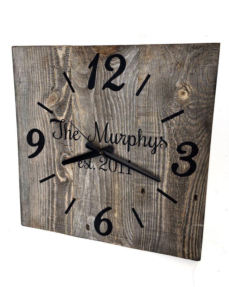reclaimed barn wood clock custom clock family name clock large rustic wall clock unique wall
