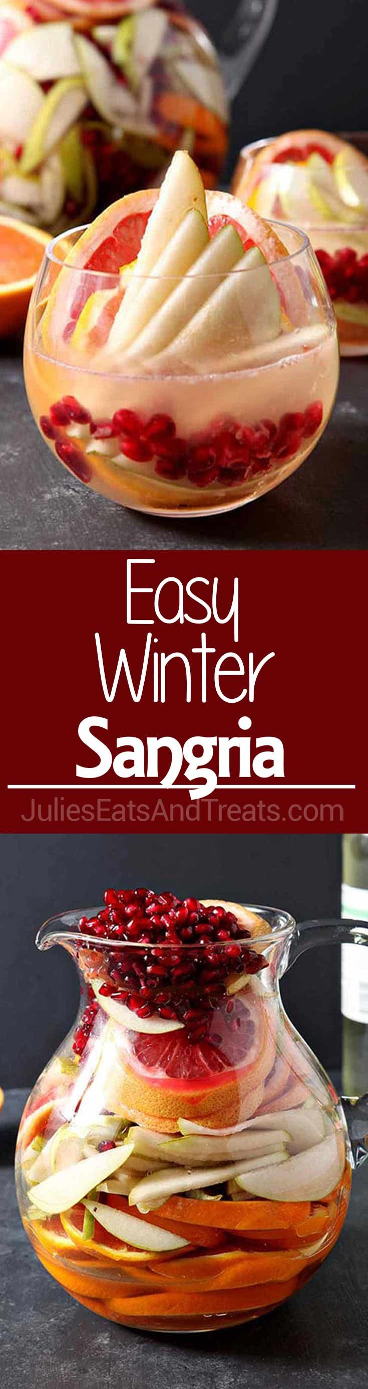 Winter Sangria ~ Full of Pink Grapefruit, Cara Cara or Blood Oranges, Pears and Pomegranates and topped with White Wine and Mint Simple Syrup! This Sangria is Bursting with Flavor! ~ https://www.julieseatsandtreats.com