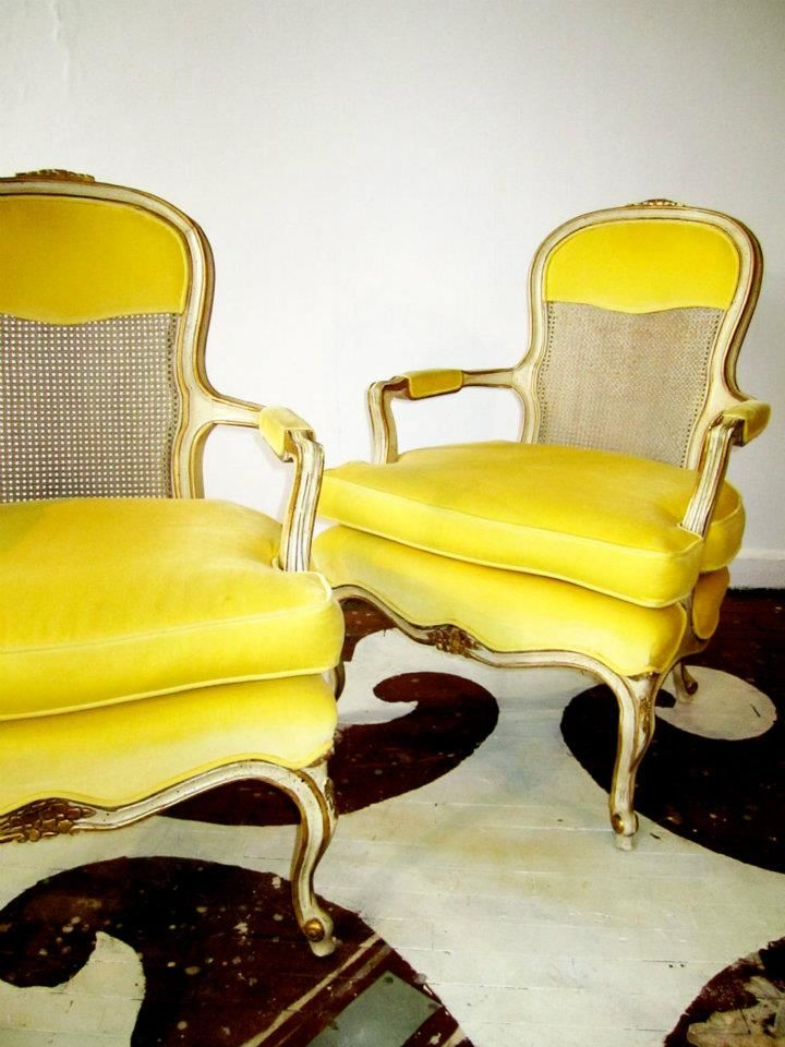 Bergere chairs, via Chairloom: Berger Chairs, Velvet Chairs, Furniture Makeovers, Home Decor, Yellow Velvet, French Chairs, Chairs Pairings, Accent Chairs, Yellow Chairs