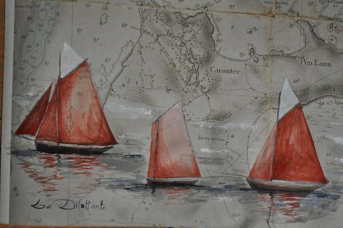 Vieux gréements sur carte marine