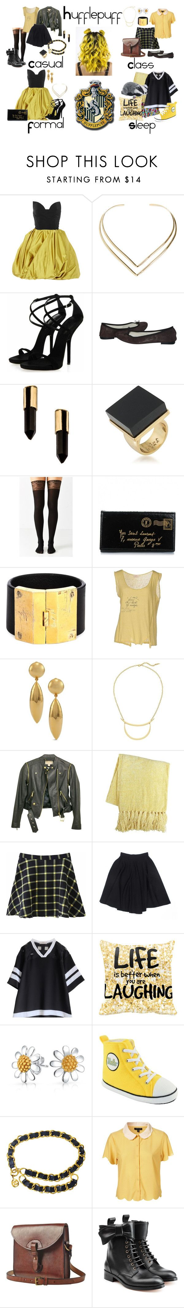 """Different Hufflepuff Outfits 2"" by pie-epic ❤ liked on Polyvore featuring Oscar de la Renta, Natalie B, Repetto, Serefina, Trina Turk, Urban Outfitters, Yves Saint Laurent, Parts of Four, Momonì and Chico's"